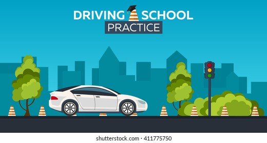 Driving school illustration. Auto Education. The rules of the road. Practice