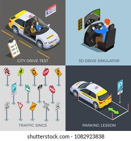 Driving school isometric 2x2 design concept with compositions of traffic signs drive simulators cars and text vector illustration