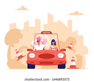 Driving School, Learner Driving Car with Frightened Instructor. Student Driver Girl Study Drive Automobile Bumping Road Signs. Cartoon Flat Vector Illustration, Banner