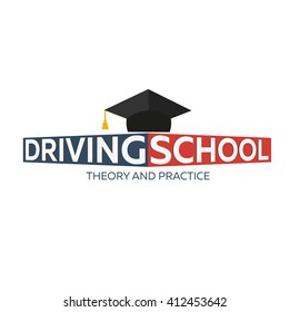 Driving school logo. Auto Education. The rules of the road