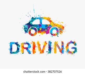 Driving school logo. Car of rainbow splash paint