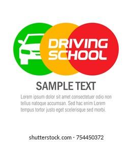 Driving School. Logo design. Vector illustration.