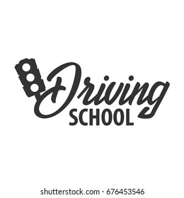 Driving school logo and emblem template. Auto education. Vector illustration