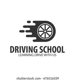 Driving school logo and emblem template. Auto education. Vector illustration