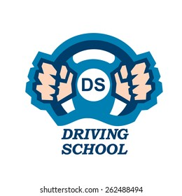 Driving school logo hands on  steering wheel icon vector