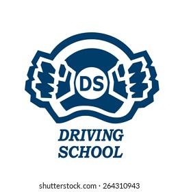 Driving school logo hands on steering wheel icon vector