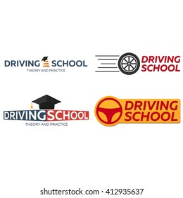 Driving school logo set. Auto Education. The rules of the road