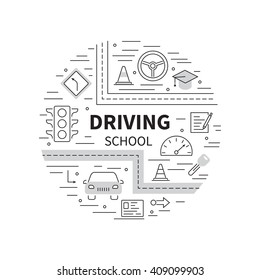 Driving school logo template with auto, education, road symbols. Modern line style.