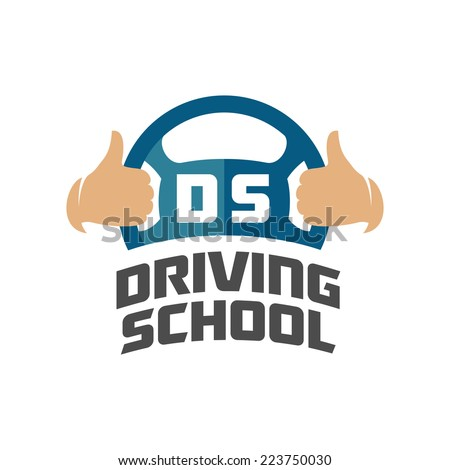 Driving school logo template. Steering wheel with thumbs up hand