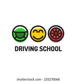 Driving school logo template. Symbols of driving wheel, smiling face and car wheel.
