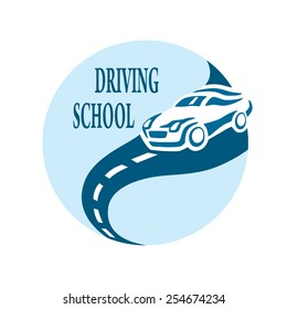 Driving school logo vector. Car on the road