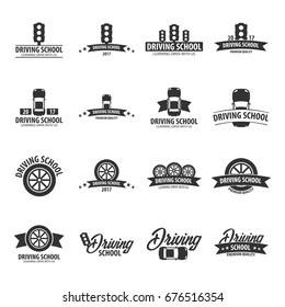 Driving school logos and emblems template. Auto education. Vector illustration