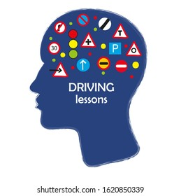 Driving school poster with road signs and head. Vector graphic illustration
