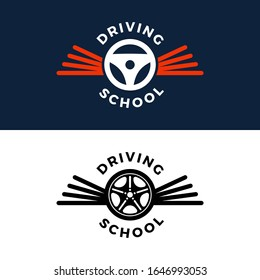 Driving school vector logo. Book, car wheel, wing logo design. Training, vehicle, transport and transportation, vector design and illustration