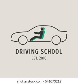 Driving school vector logo,  symbol, emblem. Car silhouette   design element, concept illustration