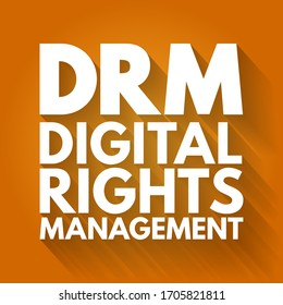 DRM - Digital Rights Management acronym, technology business concept background
