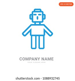 Droid company logo design template, Business corporative emblem vector icon, droid iconic concept