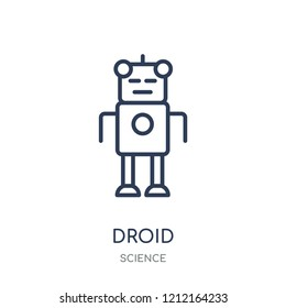 Droid icon. Droid linear symbol design from Science collection. Simple outline element vector illustration on white background.
