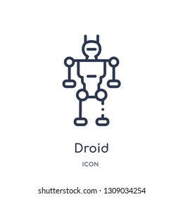 droid icon from science outline collection. Thin line droid icon isolated on white background.