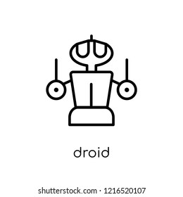 droid icon. Trendy modern flat linear vector droid icon on white background from thin line Science collection, outline vector illustration