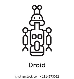Droid icon vector isolated on white background for your web and mobile app design, Droid logo concept, outline symbol, linear sign