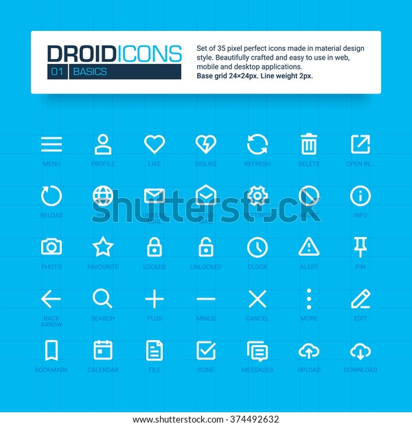 Droid Icons Set 35 Flat Line Stock Vector (Royalty Free) 374492632