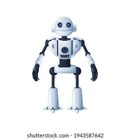Droid robot isolated cyborg artificial intelligent. Vector futuristic humanoid, 3D automatic smart character, digital kids toy. Stylish sci fi bot, cyber machine, humanoid robot, cybernetic machine