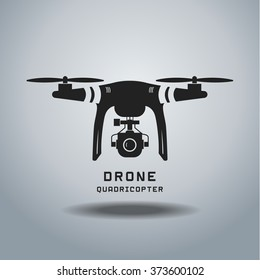 drone with action camera,  logo ,  icon, black and white, EPS,vector illustration