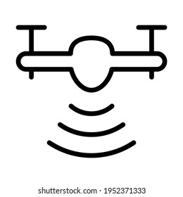 Drone aerial camera icon. Vector Illustration. Outline vector icon for web design isolated on white background.