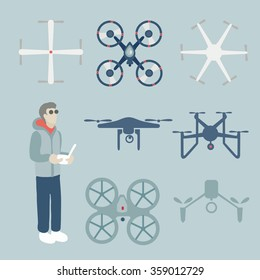 drone aerial drone vector technology flying remote control on sky