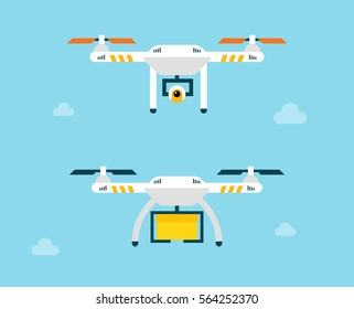 Drone with box and action camera. Air photography and delivery by drone. Vector iluustration with flying quadrocopters in flat style.
