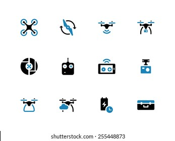 Drone with camera duotone icons on white background. Vector illustration.