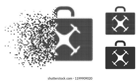 Drone case icon in disappearing, dotted halftone and undamaged entire variants. Elements are organized into vector disappearing drone case symbol. Disappearing effect uses square dots.