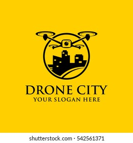 Drone city template logo design. drone and city image.
