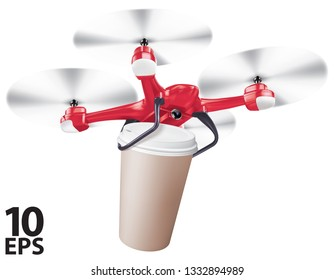 Drone coffee cup delivery. Realistic creative vector 3d illustration