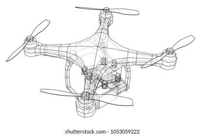 Drohnenkonzept. Vektorgrafik von 3d. Wire-Frame-Stil. Die Schichten sichtbarer und unsichtbarer Linien sind getrennt
