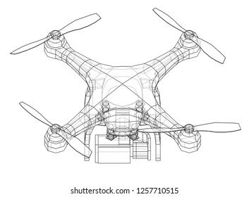 drone concept vector rendering 3 d wireframe stock vector royalty  drone concept vector rendering of 3d wire frame style the layers of