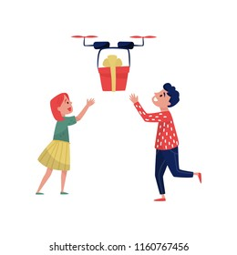 Drone delivering gift box to happy kids, boy and girl running to multicopter handling box order, fast delivery service vector Illustration on a white background
