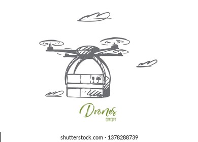 Drone, delivery, box, technology, transportation concept. Hand drawn transportation package with drone concept sketch. Isolated vector illustration.