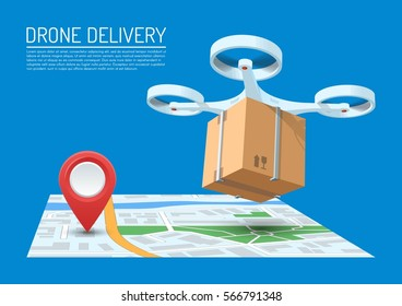 Drone delivery concept vector illustration. Quadcopter flying over a map and carrying a package to customer.