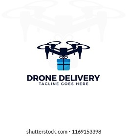Drone delivery logo illustration. drone quadrocopter with gift box.