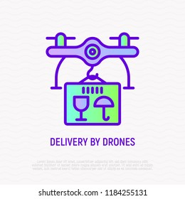Drone delivery of parcel thin line icon. Modern vector illustrat
