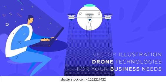 Drone developer. Concept modern technologies, artificial intelligence and machine learning illustration for business presentation design. Eps10 vector