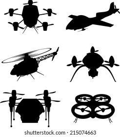 Drone Drones Flying, vector illustration cartoon