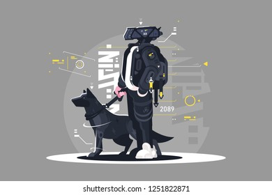 Drone dude walking with dog vector illustration. Robot going with doggy on leash flat style design. Futuristic services and future technologies concept