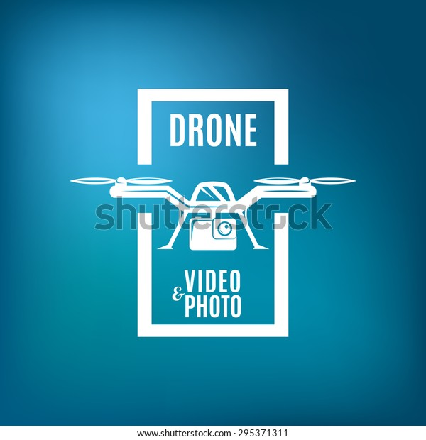 Drone Emblem On Blue Mesh Background Stock Vector (Royalty