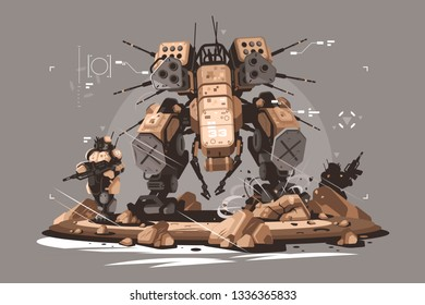 Drone escort infantry vector illustration. Military army soldier robot mercenary mechanized and automated flat style concept. Latest robotic technologies futuristic services and future technologies