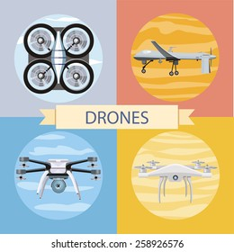 Drone flying for aerial photography or video shooting. Set of different quadrocopters icons. Concept in flat design style. For web banners, marketing and promotional materials, presentation templates