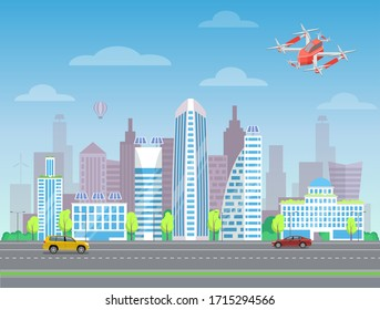 Drone flying in city, car going by road near high buildings, cloudy sky. Quadcopter piloting in town, professional controller, multicopter security, modern wireless device with propellers vector