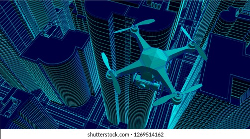 drone flying over a city filming, illustrated in wire-frame style. the city and the drone are two different objects for ease of use